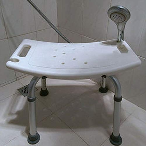 Shower Stool Commode Toilet Chair Elderly Bath Shower Seat Armrests Backrest Pregnant Women Spa Anti Slip Bench Convenient Bathroom Chair Handicap Shower Seats for Adults (Color : White)