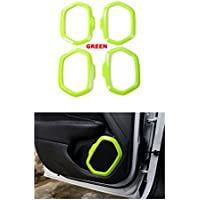 FMtoppeak Green 4 Pcs Interior Decoration ABS Door Speaker Trim Radio Ring Audio Outlet Frame Cover For 2014 UP Jeep Renegade