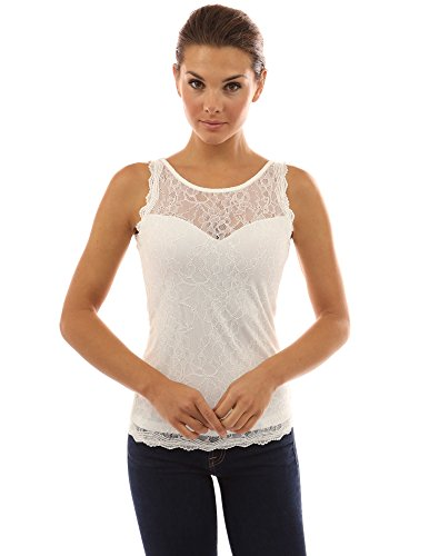 PattyBoutik Women's Crewneck Sweetheart Inset Lace Tank Top (Off-White L) (Neck Tank Sweetheart)
