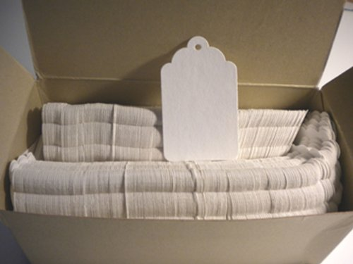 Merchandise Tags #8, White, Scalloped, Hole (no strings), 2 7/8 x 1 3/4, Box of 1000 by QCP
