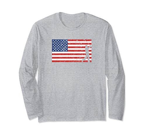 Unisex 4th of July American Flag Golfer Long Sleeve T Shirt XL: Heather - Golfer T-shirt Sleeve Long