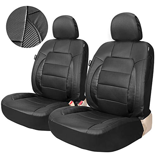 Leader Accessories Universal 2 Leather Black Seat Covers for Cars suvs Trucks Front Seats Airbag Compatible with 2 Detachable Headrest - Front Air Bags Seat
