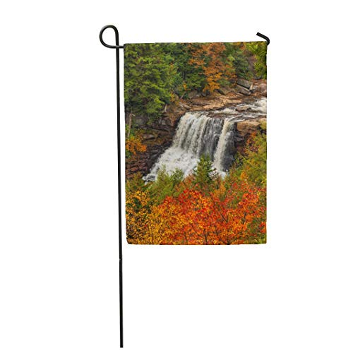 Tarolo Decoration Flag Beautiful Blackwater Falls West Virginia in Autumn Leaves Roaring Waterfall Slabs of Rock Compose This Cascade Thick Fabric Double Sided Home Garden Flag 12