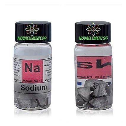 Sodio Metálico Elemento 11 Na, 1 Gramo en Aceite Mineral en Vial de Vidrio con Etiqueta