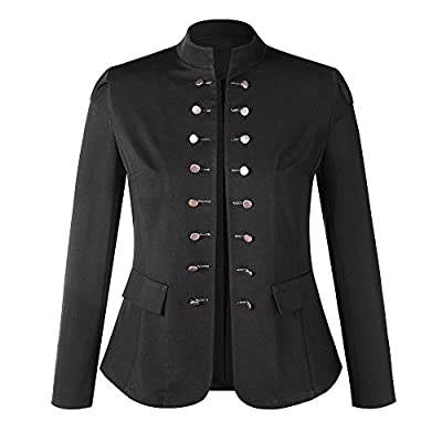 Womens Vintage Steampunk Jacket Overcoat Outwear Uniform Button Down Slim Coat: Clothing