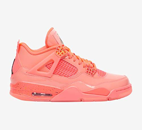 Nike Jordan Women's Retro 4 Hot Punch/Black/Volt Leather Basketball Shoes 8.5 M US