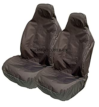HEAVY DUTY BLACK WATERPROOF RUBBER LINED CAR SEAT COVERS 1+1 SEATS PAIR