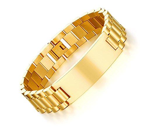 Gold Color Links Watch Crystal (Mealguet Jewlery Personalized Custom Engrave Stainless Steel Masculine Classic Link Watch Band Chain ID Bracelets for Men Husband,Gold Plated)
