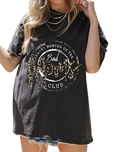 PLNCAYFZ Women Proud Member of The Bad Moms Club Letter Leopard Print Short Sleeve Tee Black
