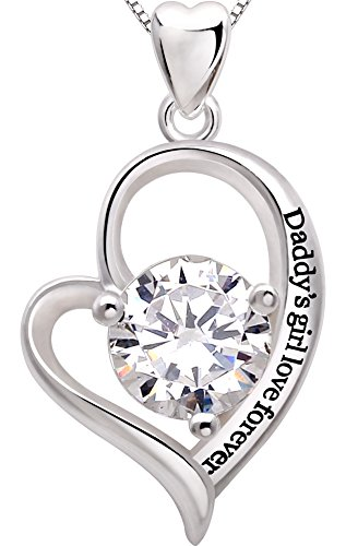 ALOV Jewelry Sterling Silver Daddy's Girl Love Forever Love Heart Cubic Zirconia Pendant Necklace