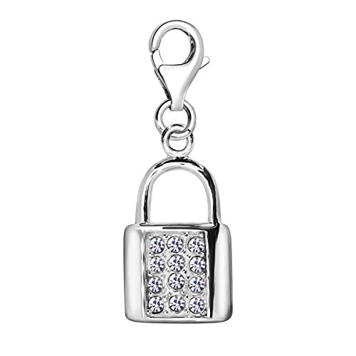 Quiges 925 Sterling Silver White Cubic Zirconia Handbag Lobster Clasp Charm Clip on Pendant