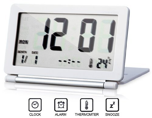Portable Ultra Slim Design Foldable Travel Digital Snooze Alarm Clock with Thermometer Leather Case White & Silver Dsk Clocks