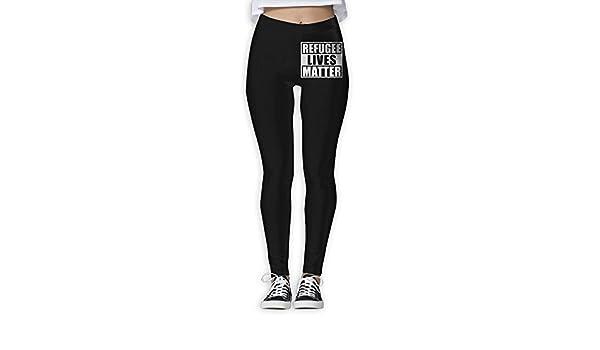 Amazon.com: JHWJ@KU Womens Yoga Pants Refugee Lives Matter ...