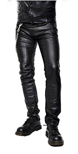 Mens Leather Motorcycle Jeans - 5