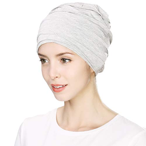 Womens head Wrap Cover Scarves Cancer Beanie Hat for Chemo Patient Sleep Cap Turban Surgical Hair Loss Jersey Casual Light Grey Siggi