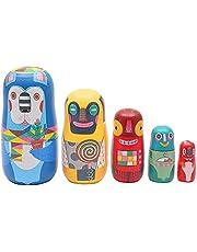 XINWAN 5 stks Houten Russische Matroesjka Speelgoed Nesting Babushka Poppen Ornamenten