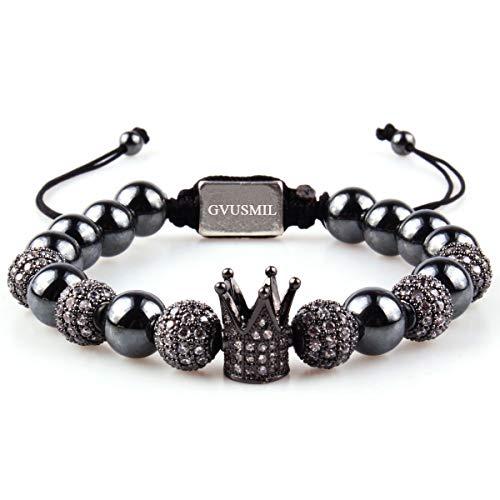 (GVUSMIL Imperial Black Crown King CZ Bracelets Luxury Fashion Charm Jewelry for Men Women)