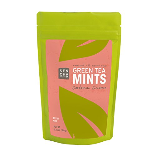 Natural Herbal Candies (Sencha Naturals Refill Bag Green Tea Mints, Cardamom Cinnamon, 6.3 Ounce)