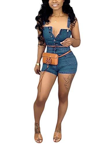 Womens Two Piece Denim Outfits Sleeveless Tank Crop Top and High Waist Shorts Set Blue XL ()