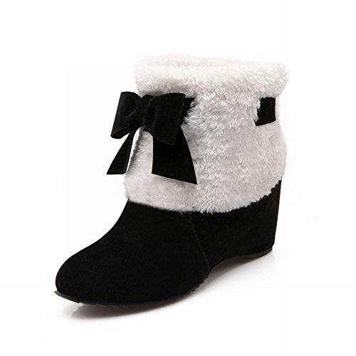 Carol Shoes Women's Concise Casual Hidden Heel Bows Short Snow Boots Black 2Ytn8LBs