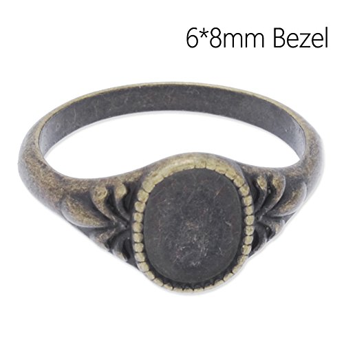 (Popular Design Antique Bronze Plated Ring with Blank Bezel fit 6x8mm Cabochon-50pcs/lot)