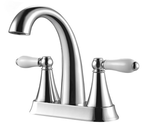 Pfister LF048KYCC Kaylon 2-Handle 4 Inch Centerset Bathroom Faucet in Polished Chrome, Water-Efficient Model (4in White Handle)