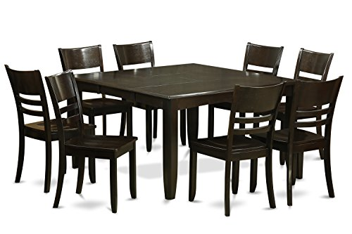 East West Furniture PFLY9-CAP-W 9-Piece Dining Room Table Set, Cappuccino Finish