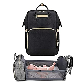 5 in 1Travel Bassinet Foldable Baby Bed, Portable Diaper Changing Station Mummy Bag Backpack,Travel Crib Infant Sleeper,Baby Nest with Mattress Included (Black)
