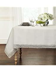 "GoodGram Ultra Luxurious Textured Macrame Trim Fabric Tablecloth Assorted Sizes & Colors - White, 60"" x 120"" Rectangle (10-12 Chair)"