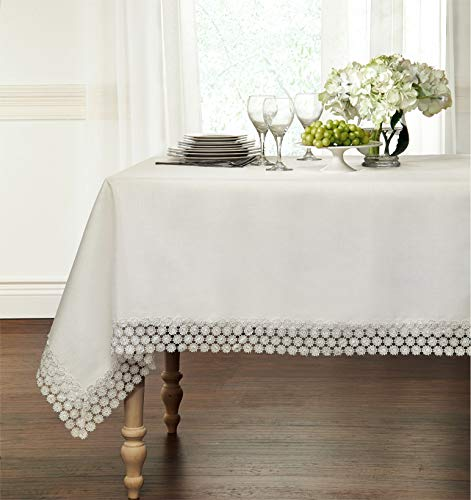 "GoodGram Ultra Luxurious Textured Macrame Trim Fabric Tablecloth Assorted Sizes & Colors - White, 60"" x 90"" Rectangle (6-8 Chair) - Whats Included: 1 Tablecloth Assorted Sizes & Colors Heavyweight Macrame Trim **White color may appear Off White/Ivory in certain lighting** - tablecloths, kitchen-dining-room-table-linens, kitchen-dining-room - 41te NHJEQL -"