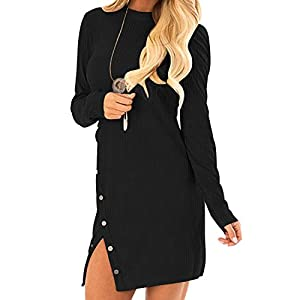 Auxo Femme Robe Pull Longue Sexy Pull à Col Haut Manche Longue Pulls Épais Casual Robe Automne Hiver Fille Pull-Over…