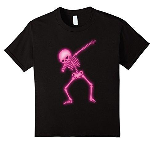 Dance Costumes Ideas For Hip Hop (Kids Dabbing Skeleton Faux Pink Glow Halloween Costume Shirt 6 Black)
