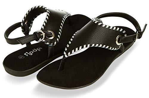 Floopi Sandals for Women | Cute, Open Toe, Wide Elastic Design, Summer Sandals| Comfy, Faux Leather Ankle Straps W/Flat Sole, Memory Foam Insole (9, Black-511) Close Back Thong Sandal