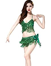 ZLTdream Women's Belly Dance Costume Bra Top with Chest & Hip Scarf with Fringe