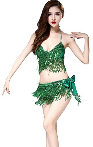 Green Belly Dance Costume - ZLTdream Belly Dance Costume Bra Top With Chest & Hip Scarf with Fringe Green