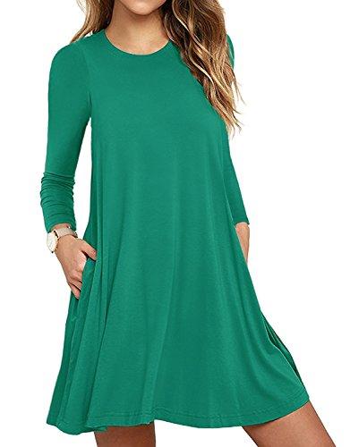 HAOMEILI Women's Sleeveless Pockets Casual Swing T-Shirt Summer Dresses (Large, Long Sleeve-Grass Green)