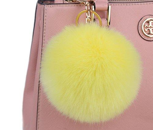 Minigianni 4 Inches Yellow Big Fluffy Faux Rabbit Fur Ball Key Ring Chain Keychain for Handbag Wallet Purse Car Key(Yellow)