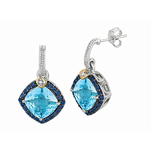 Sterling Silver 0.44ct. Diamond Blue Topaz Iolite 18k Yellow Gold Rock Candy Earrings