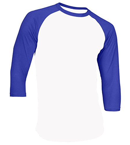 Men's Plain Raglan Shirt 3/4 Sleeve Athletic Baseball Jersey S-3XL (40+ Colors) (3XL, White Royal Blue)
