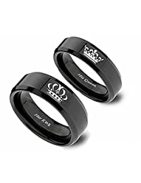 Her King His Queen Crown Polished Stainless Steel Anniversary Engagement Promise Ring Wedding Bands