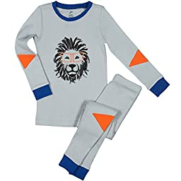 Papallou Boys Lion Print Pajama Set, 100% Cotton, Size 3T Grey