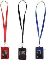 Fenteer 3PCS Badge Holder Zip PU Leather Card Holder Wallet with Neck Lanyard/Strap