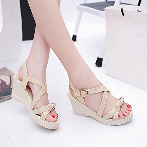 Euone Women Shoes Summer Sandals Casual Peep Toe Platform Wedges Sandals Shoes Beige 9l8Jo5