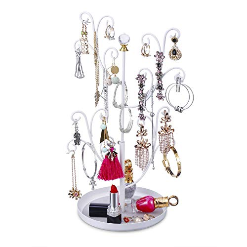 Keebofly Jewelry Tree Stand Organizer - Earring Ring Necklace Bracelet Organizer Display with Adjustable Height, Metal (White)