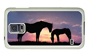 Hipster Cheap price Samsung Galaxy S5 Cases horses sunset silhouette PC White for Samsung S5