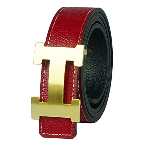 G-FOR Women H Reversible Leather Belt With Removable Buckle 32inch Red -