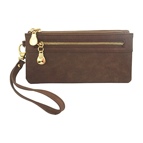 Women's Wristlet Wallet FanCarry PU Leather Clutch Purse Card Organizer w/ Front Zipper Pockets (Coffee) (Brown Wristlet)