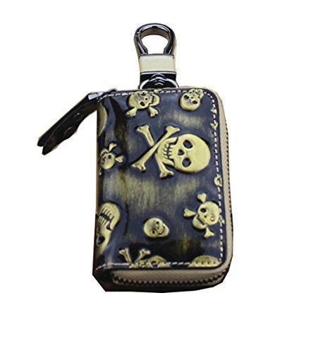 Key Fob Skull (Degohome Key case Skull Premium Leather Car Key Chain Holder Metal Hook and Keyring Wallet Zipper Bag (golden))