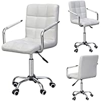 Modern Office Executive PU Leather Swivel Armrest Chair Computer Desk Task White