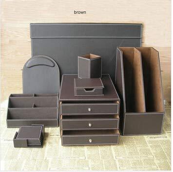 DishyKooker 10 PCS/Set pu Leather Office Desktop File Stationery Accessories Organizer Holder Pen Holder Cabinet Writing Board pad TZ001 Brown One Size